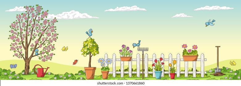 Panorama spring landscape with gardening tools. Hand draw vector illustration.