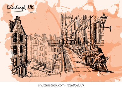 Panorama of a terrace above Victoria St., occupied by street cafes. Edinburgh, UK. Sketch imitating ink pen drawing with a grunge background on a separate layer. EPS10 vector illustration.