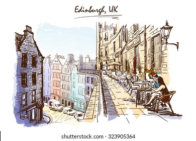 Panorama of a terrace above Victoria St., occupied by street cafes. Edinburgh, UK. Painted sketch imitating ink pen drawing above blurry watercolor. EPS10 vector illustration.