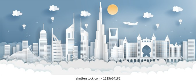 Panorama of top world famous landmark of Dubai for travel poster and postcard, in paper cut style vector illustration.