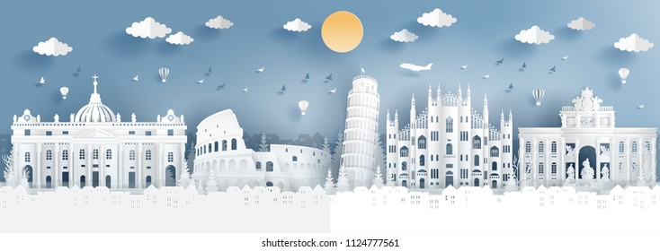 Panorama of top world famous landmark of Italy for travel poster and postcard, in paper cut style vector illustration.
