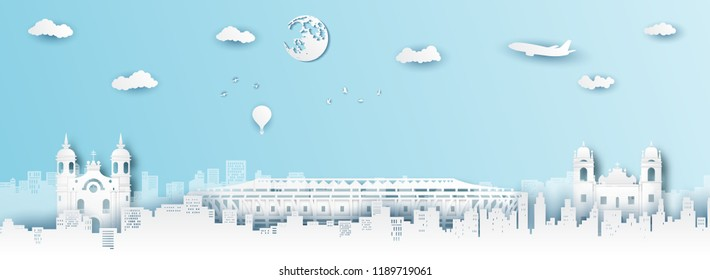 Panorama of top world famous landmark of Brazil,paper cut style vector illustration.