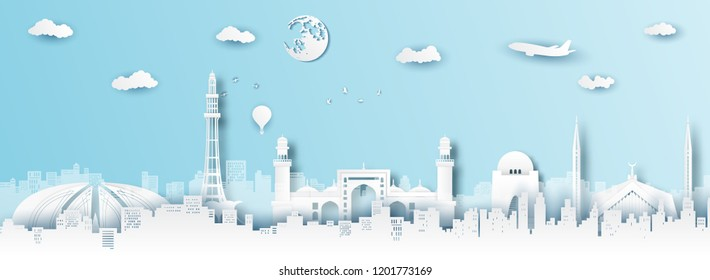 Panorama of top world famous landmark of Pakistan,paper cut style vector illustration.