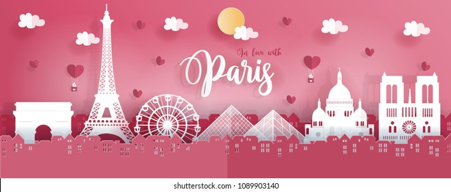 Panorama travel postcard and poster of Paris, France in paper origami style. Love and honeymoon trip concept. Vector illustration.