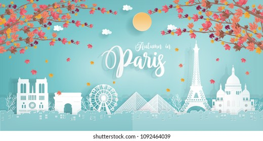 Panorama travel postcard, poster, tour advertising of world famous landmarks of Paris, France, autumn season in paper cut style. Vector illustration.