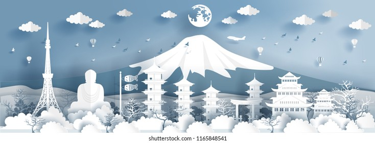 Panorama travel postcard, poster, tour advertising of world famous landmarks of Japan in paper cut style. Vector illustration.