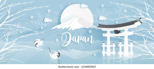 Panorama of travel postcard, poster, tour advertising of world famous landmarks of Japan with Fuji mountain ,Tori gate and Red-crowned crane in winter season in paper cut style. Vector illustration.