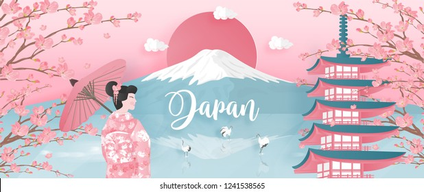 Panorama of travel postcard, poster, tour advertising of world famous landmarks of Japan with Fuji mountain and Pagoda in paper cut style. Vector illustration.