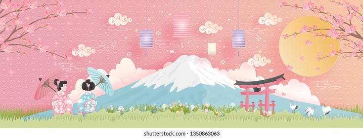 Panorama of travel postcard, poster, tour advertising of world famous landmarks of Japan with Fuji mountain and women in Kimono dress in paper cut style. Vector illustration