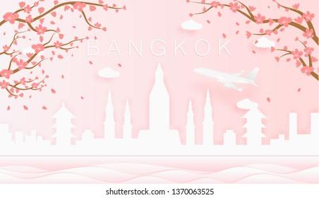 Panorama travel postcard, poster, tour advertising of world famous landmarks of Bangkok, spring season with blooming flowers in tree