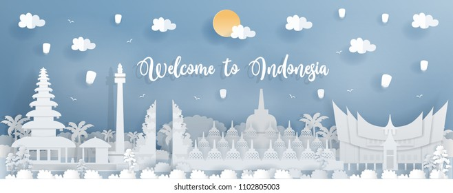 Panorama travel postcard of world famous landmark of Indonesia in paper cut style vector illustration.