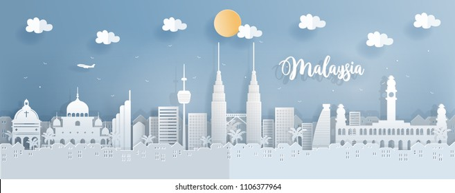 Panorama travel postcard of world famous landmarks of Malaysia in paper cut style vector illustration