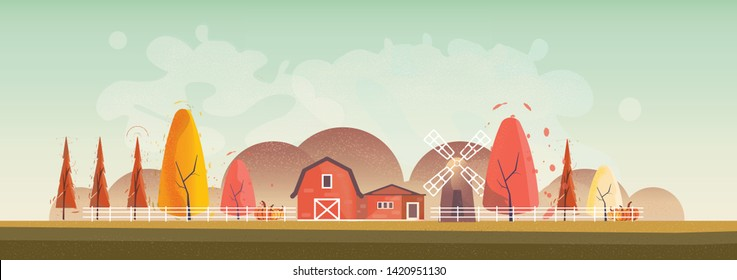 Panorama Vector illustration of Countryside landscape in autumn,  banner of farm house or countryside .The yellow foliage mountains or hill with falling leaves,barn and pumpkin with noise and grain.