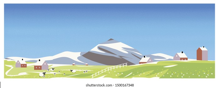 Panorama Vector illustration of Countryside landscape in Europe.Banner of sheep farm in spring.Melt snow over the  mountain,wild flower start blooming.Image with noise and grain. Beautiful landscape.