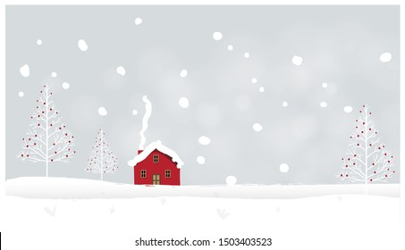 Panorama Vector illustration of Countryside landscape in winter.Banner of red barn in winter. Snowy mountain or hill   in the fog with light and shadow image with noise and grain.