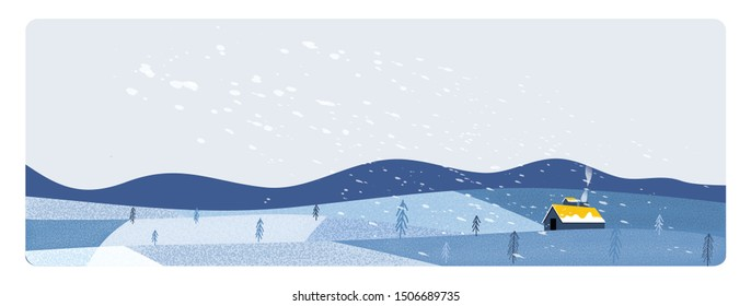 Panorama Vector illustration of Countryside landscape in winter.Banner of free form  farm landscape in winter. snow over the  mountain with small pine trees and old barn.Image with noise and grain.