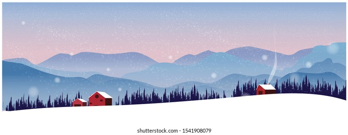 Panorama Vector illustration of Countryside landscape in winter. Banner of red lonely hut or barn in the snow.