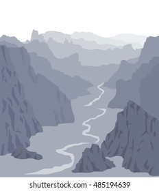 Panorama vector illustration. Landscape with huge grey mountains. Mountain ridges and valley