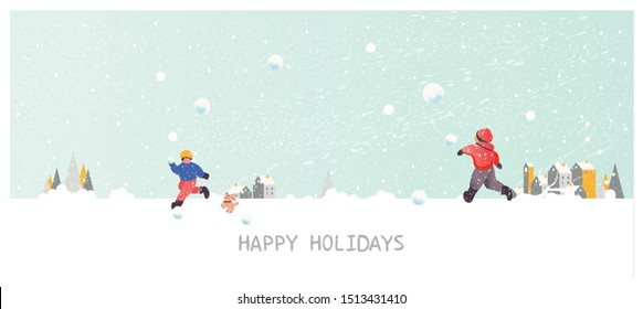 Panorama Vector illustration of Urban city landscape in winter with pine tree ,snow fir ground ,fog and snow fall. Kids play snowball outside the house.winter concept with happy holidays text