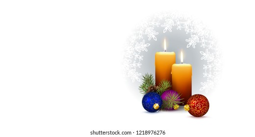 Panorama Vector with Two Candles and Snowflakes on White Background. Banner for Website Head or Horizontally Oriented Greeting Card and Illustration. With Free Space for Own Text, Design or Wishes!