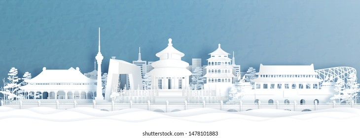 Panorama view of Beijing skyline with world famous landmarks of China in paper cut style vector illustration.