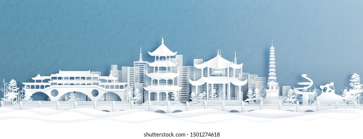 Panorama view of Chengdu city and skyline with world famous landmarks of China in paper cut style vector illustration.