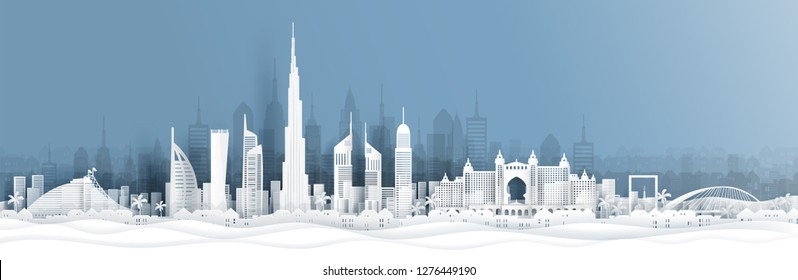 Panorama view of Dubai and city skyline with world famous landmarks in paper cut style vector illustration
