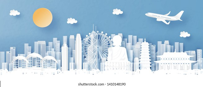 Panorama view of Hong Kong and city skyline with world famous landmarks in paper cut style vector illustration