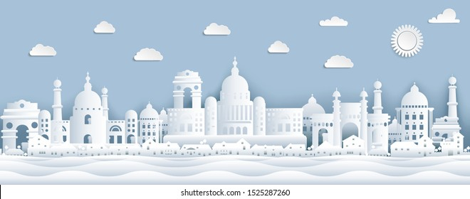 Panorama view of India and city skyline with world famous landmarks in paper cut style. Paper cut style view of Taj Mahal vector illustration.