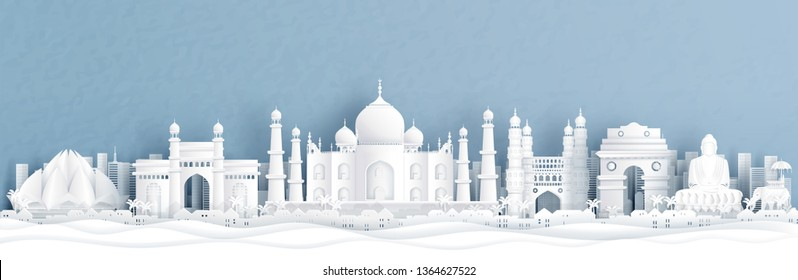 Panorama view of India with Taj Mahal and skyline with world famous landmarks in paper cut style vector illustration
