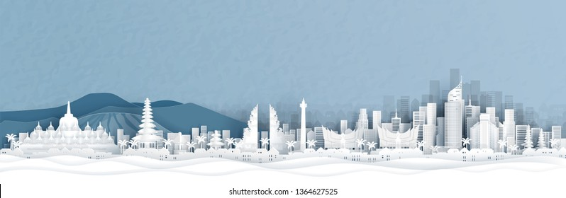 Panorama view of Indonesia and city skyline with world famous landmarks in paper cut style vector illustration