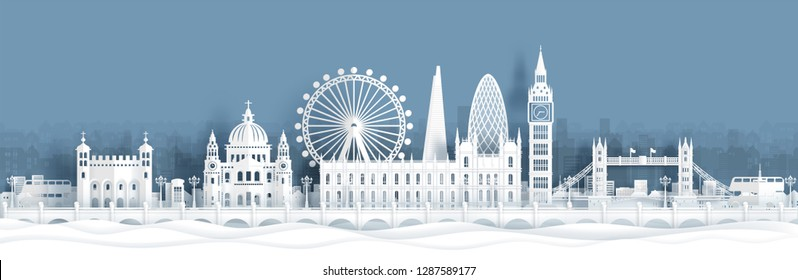 Panorama view of London, England skyline with world famous landmarks in paper cut style vector illustration