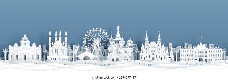 Panorama view of Moscow, Russia skyline with world famous landmarks in paper cut style vector illustration