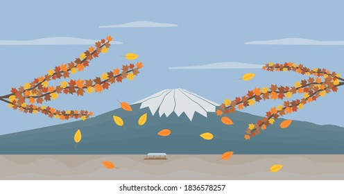 Panorama view of Mount Fuji and lake, Japan in autumn. Flat style vector illustration.