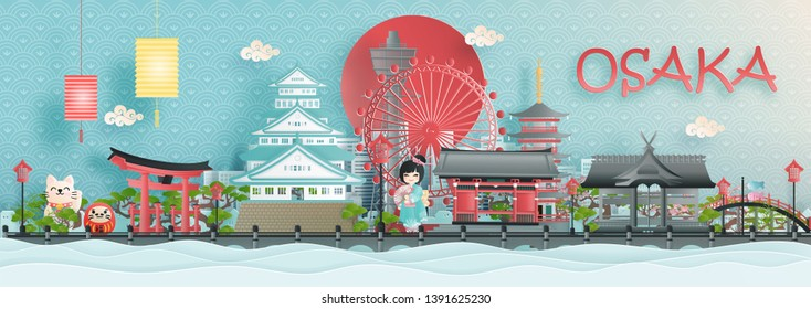 Panorama view of Osaka city skyline with world famous landmarks of Japan in paper cut style vector illustration.