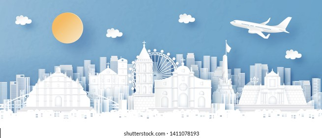 Panorama view of Philippines and city skyline with world famous landmarks in paper cut style vector illustration