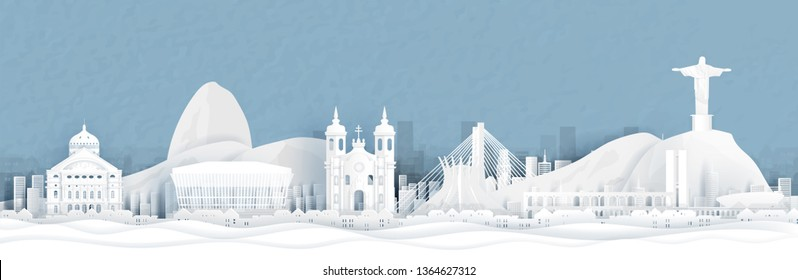 Panorama view of Rio de Janeiro, Brazil city skyline in paper cut style vector illustration