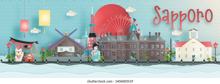 Panorama view of Sapporo, Hokkaido city skyline with world famous landmarks of Japan in paper cut style vector illustration.