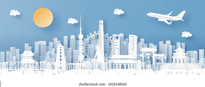 Panorama view of Shanghai, China and skyline with world famous landmarks in paper cut style vector illustration