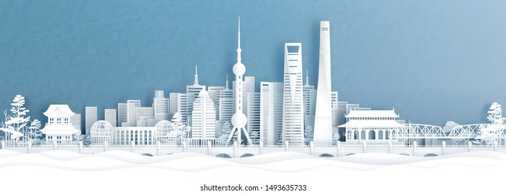 Panorama view of Shanghai skyline with world famous landmarks of China in paper cut style vector illustration.