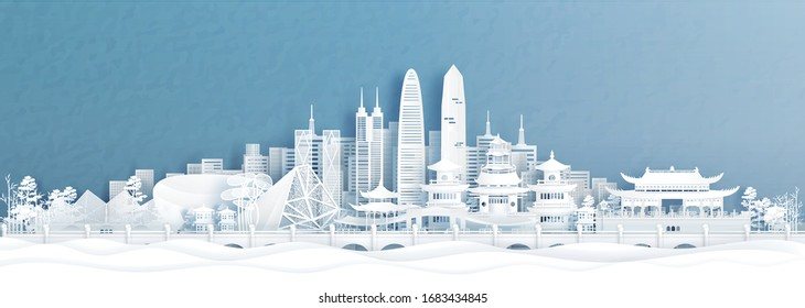 Panorama view of Shenzhen skyline with world famous landmarks of China in paper cut style vector illustration.
