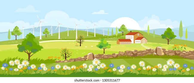 Panorama view of spring countryside of green field with grass flowers and windmill ,Vector Summer or Spring landscape in uk, Panoramic landscape of village farmhouse and mountains