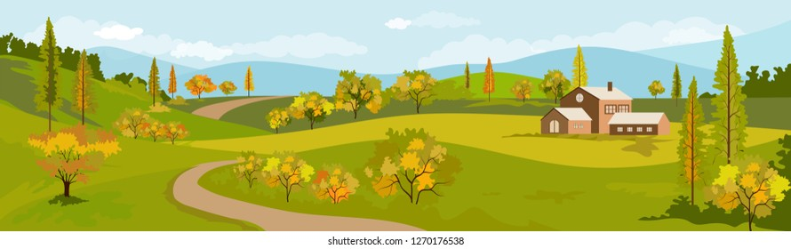 Panorama view of spring village with green meadow on hills with blue sky, Vector Summer or Spring landscape, Panoramic countryside landscape green field mountains and farmhouse.