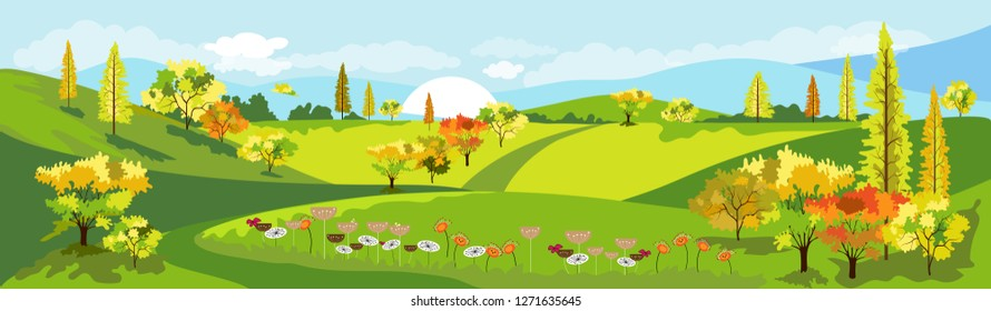 Panorama view of spring village with green meadow on hills with blue sky, Vector Cartoon Summer or Spring farm view landscape, Panoramic countryside landscape green field with flowers on mountains