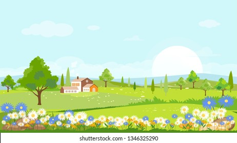 Panorama view of spring village with green meadow on hills with blue sky, Vector Summer or Spring landscape, Panoramic countryside landscape green field with grass flowers on mountains and farmhouse.