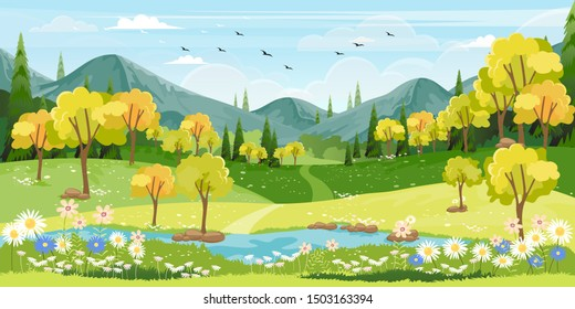 Panorama view of spring village with green meadow on hills with blue sky, Vector cartoon Spring or Summer landscape, Panoramic countryside landscape mountains with wild flowers fields