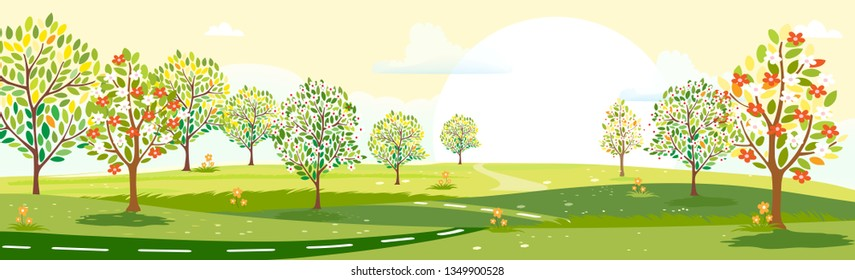 Panorama view of summer village with green meadow on hills with yellow sky, Vector cartoon Spring or Summer landscape, Panoramic countryside landscape mountains with wild flowers fields