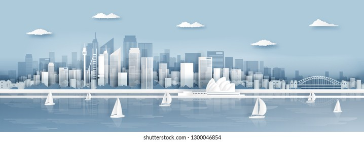 Panorama view of Sydney, Australia city skyline and world famous landmarks in paper cut style vector illustration