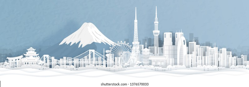 Panorama view of Tokyo city skyline with world famous landmarks of Japan in paper cut style vector illustration.