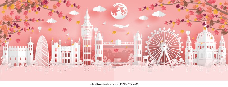 Panorama view of top world famous landmark for travel poster and postcard, Autumn season with falling leaves in England in paper origami style vector illustration.